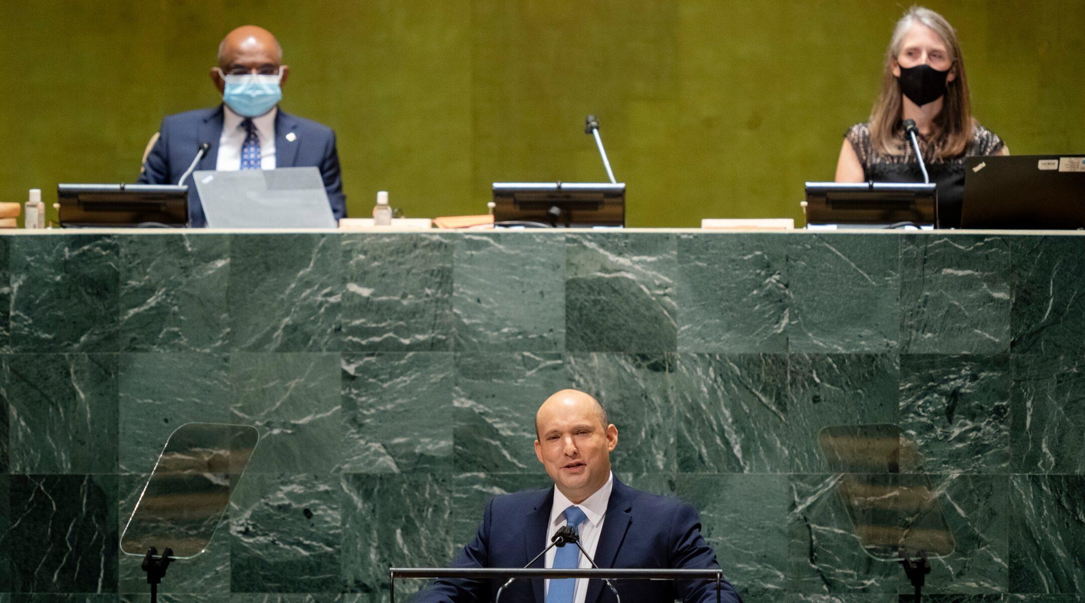 Israeli Prime Minister Naftali Bennett addresses the United Nations General Assembly at UN headquarters in New York City, Sept. 27, 2021. (Photo/JTA-John Minchillo-Pool-Getty Images)