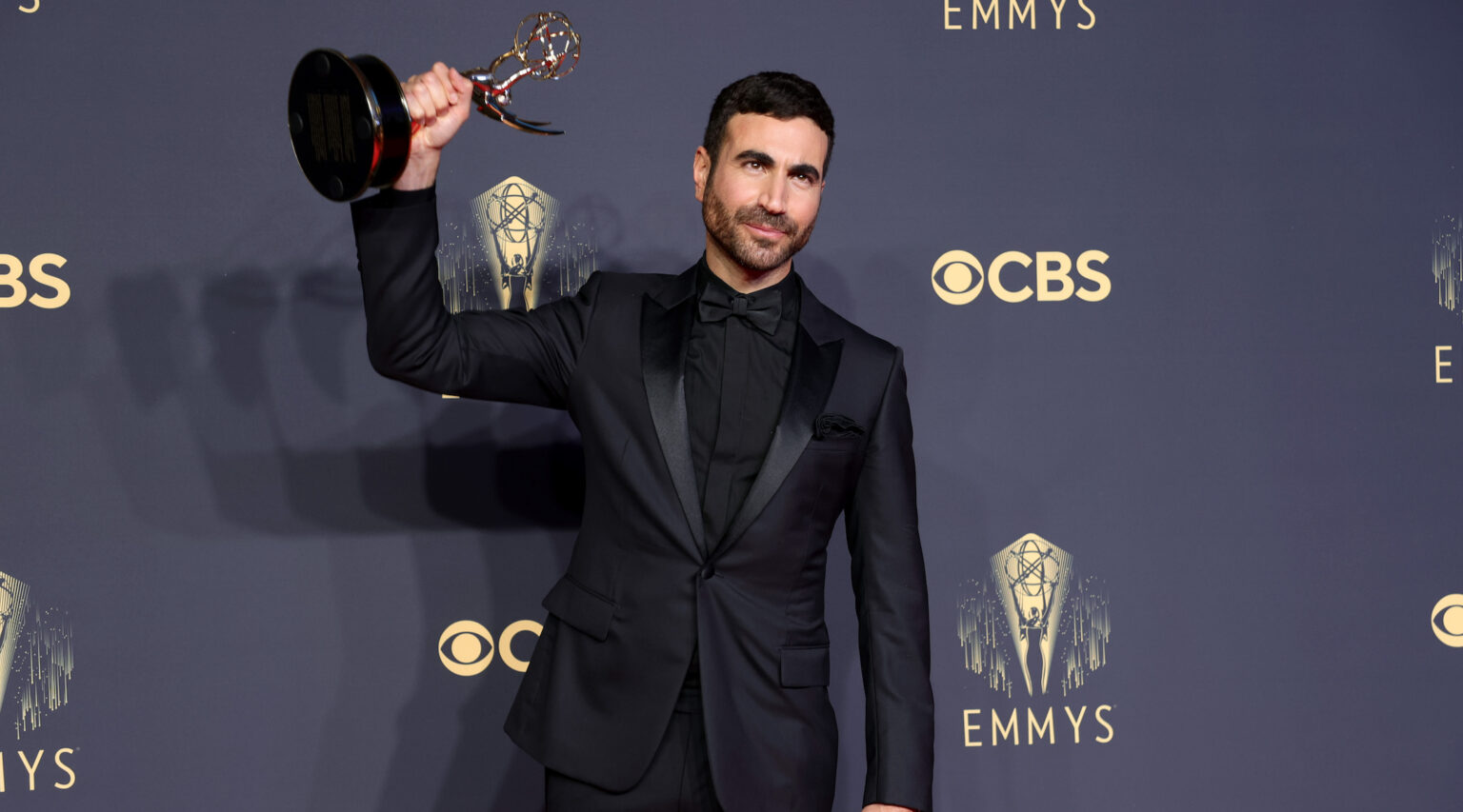 """Brett Goldstein, winner of best supporting actor in a comedy series for """"Ted Lasso,"""" poses in the press room during the 2021 Emmy Awards, Sept. 19, 2021. (Photo/JTA-Rich Fury-Getty Images)"""