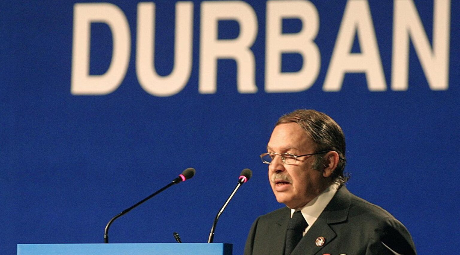 Then-Algerian President Abdelazizz Bouteflika addresses the plenary session of the United Nations' Durban Conference in Durban, South Africa, Sept. 1, 2001. (Photo/JTA-Anna Zieminski-AFP via Getty Images)
