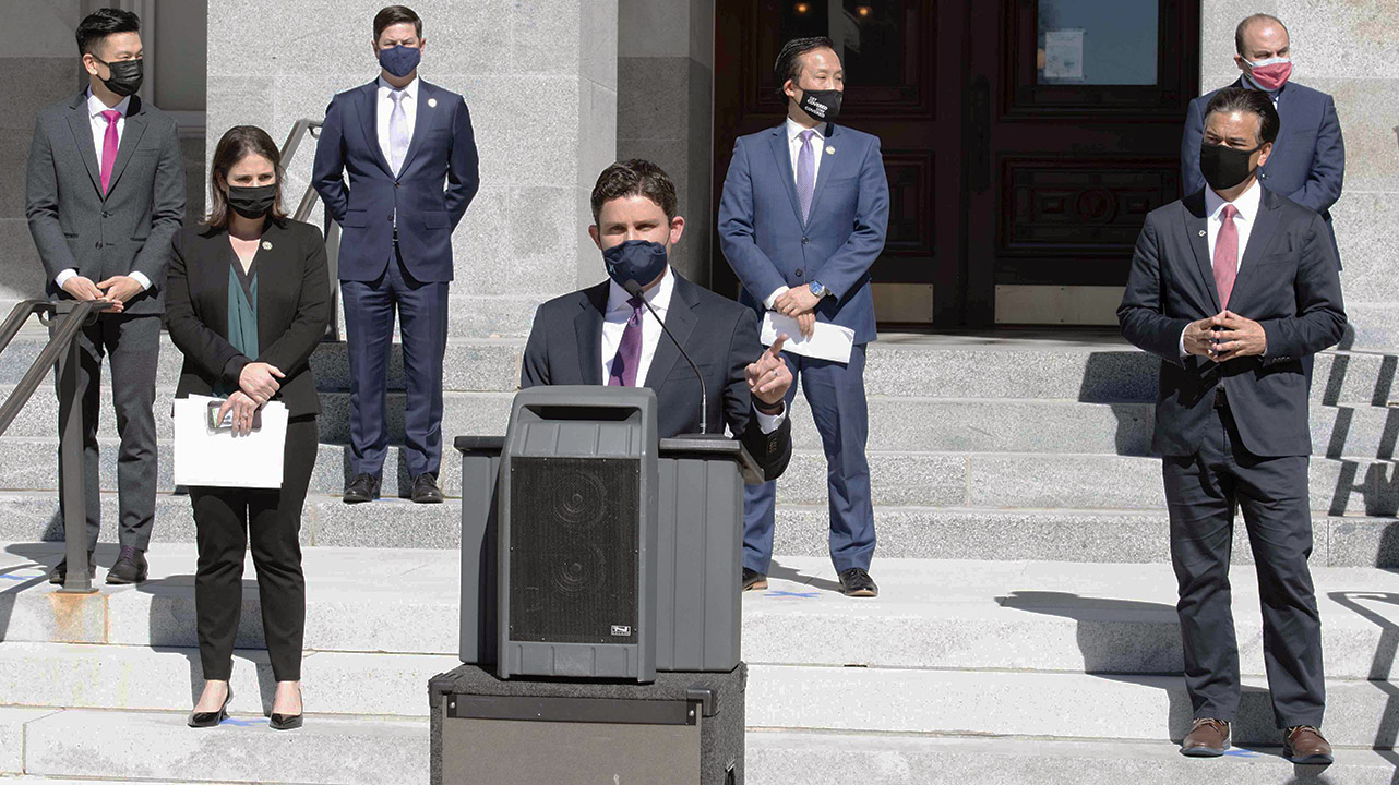 Assembly member Jesse Gabriel speaks about AB 57 at a press conference earlier this year. (Photo/Courtesy Democratic Office of Communications, Sacramento)