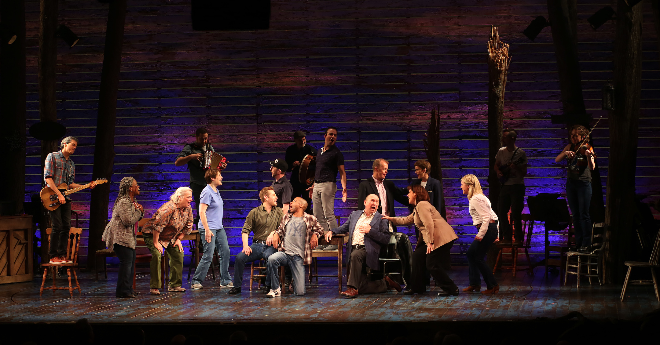 """The cast during the """"Come From Away"""" Broadway opening night curtain call at the Gerald Schoenfeld Theatre in New York City, March 12, 2017. (Photo/JTA-Walter McBride-WireImage-Getty Images)"""