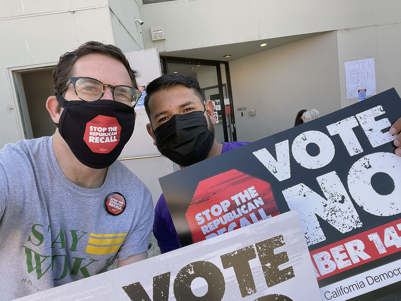 Igor Tregub (left), vice chair of the Alameda County Democratic Party and an organizer in the East Bay, worked to oppose the recall of Gov. Gavin Newsom. (Photo/Courtesy Igor Tregub)