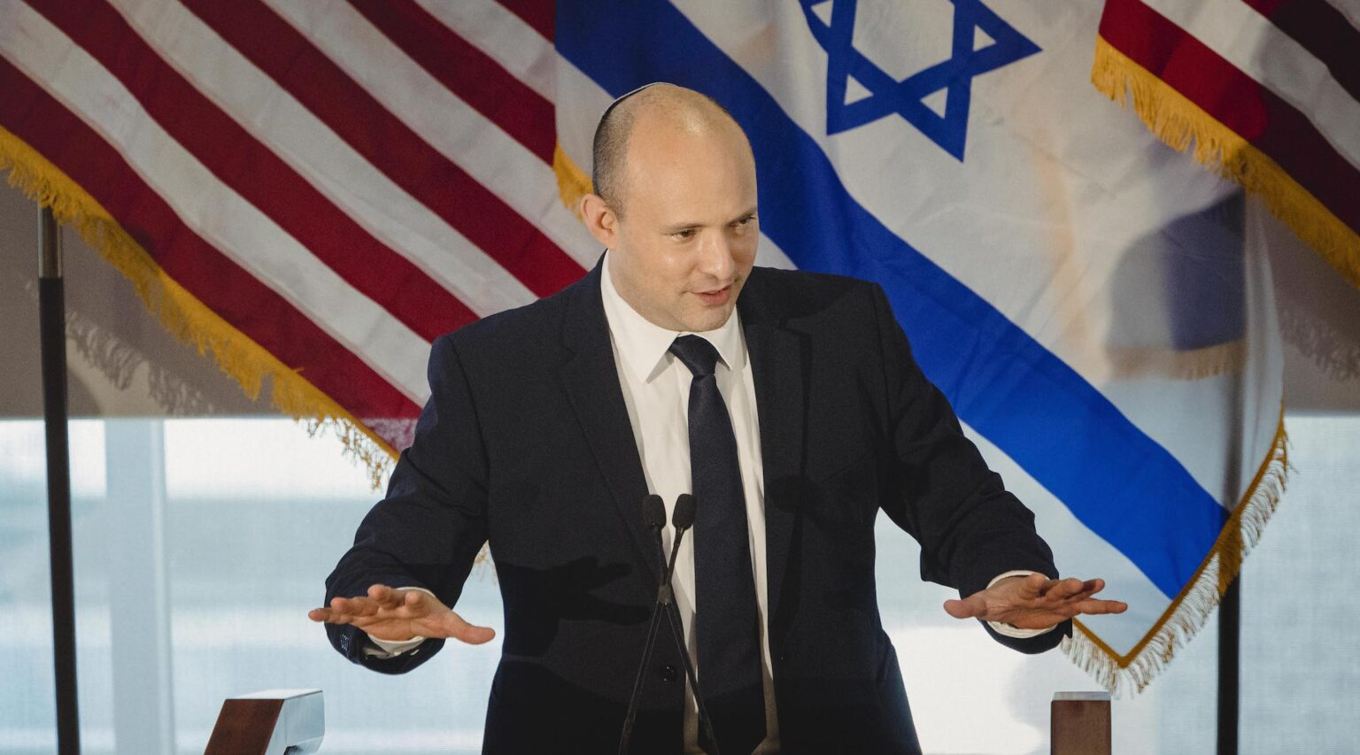 Israeli Prime Minister Naftali Bennett speaks to American Jewish leaders in New York City on Sept. 27, 2021. (Photo/JTA-Courtesy JFNA-Sara Naomi Lewkowicz)