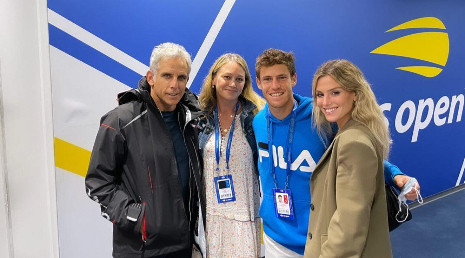 (From left) Ben Stiller, Christine Taylor, Diego Schwartzman and Eugenia De Martino at the U.S. Open in New York. (Photo/JTA via @eugedemartino on Instagram)