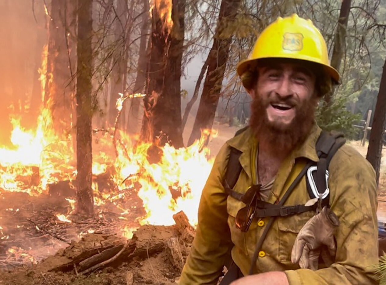 Nathan Berro Krugman, a U.S. Forest Service forest technician, fighting the Caldor Fire last month.