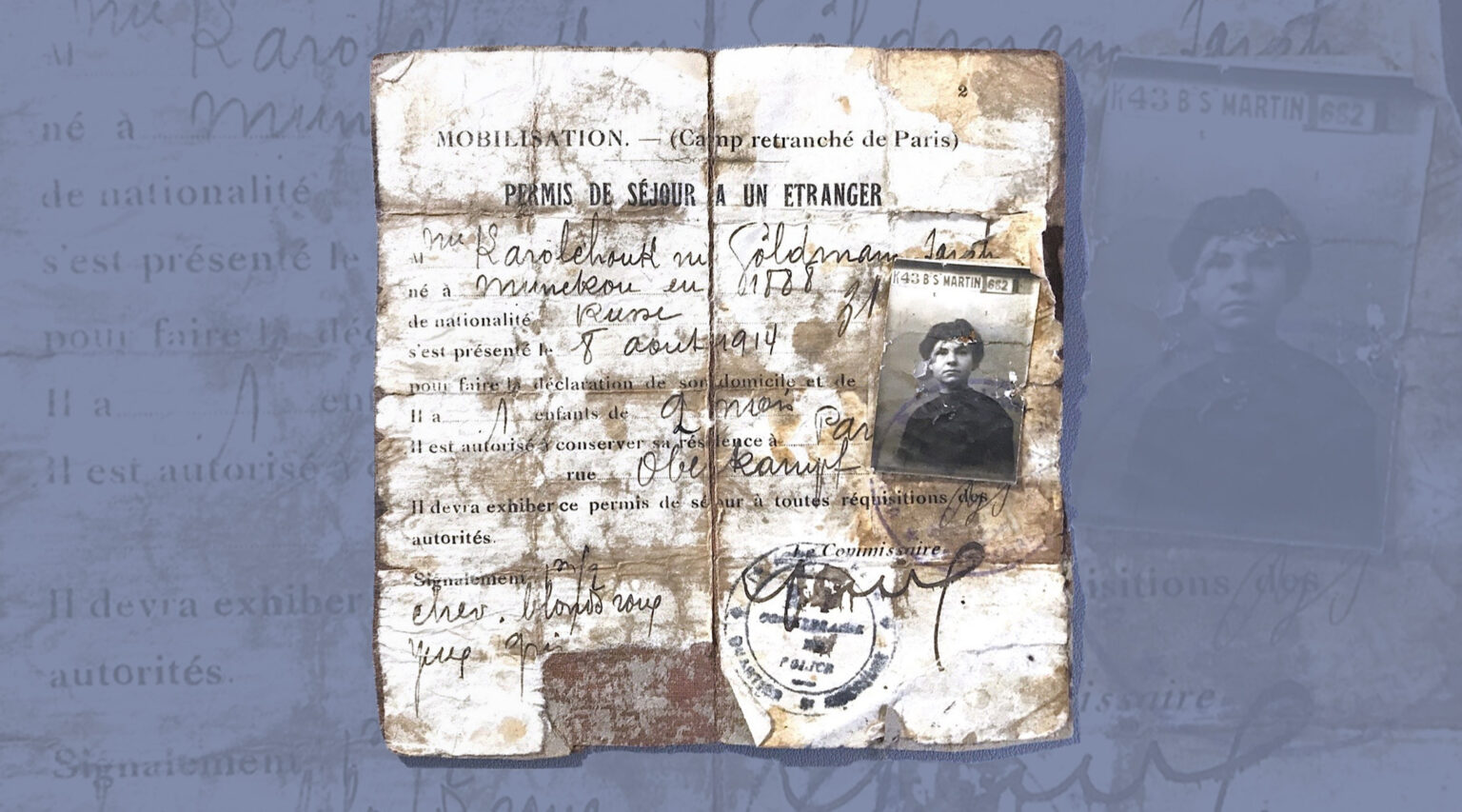 The author's grandmother's French residence permit from 1914 includes a spelling of her husband's original name, Karolchouk, before he and his brothers changed it to Carroll.