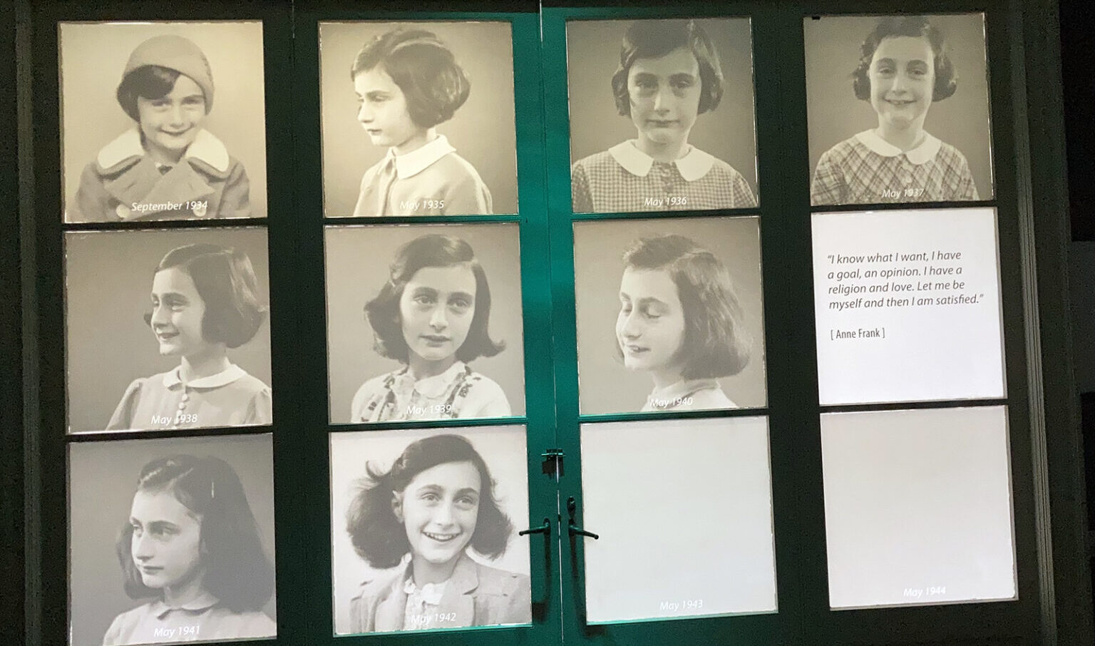 The Anne Frank Center in Columbia, South Carolina, includes two doors illuminated with photos of Anne as a girl. (Photo/RNS-Yonat Shimron)