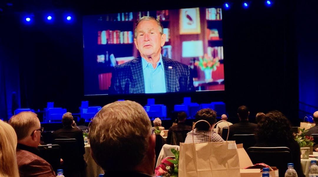 Former President George W. Bush, appearing via video, was a keynote speaker at the Eradicate Hate Global Summit, held Oct. 18-20, 2021 in Pittsburgh, Pennsylvania. (Photo/JTA-David Rullo-Pittsburgh Jewish Chronicle)