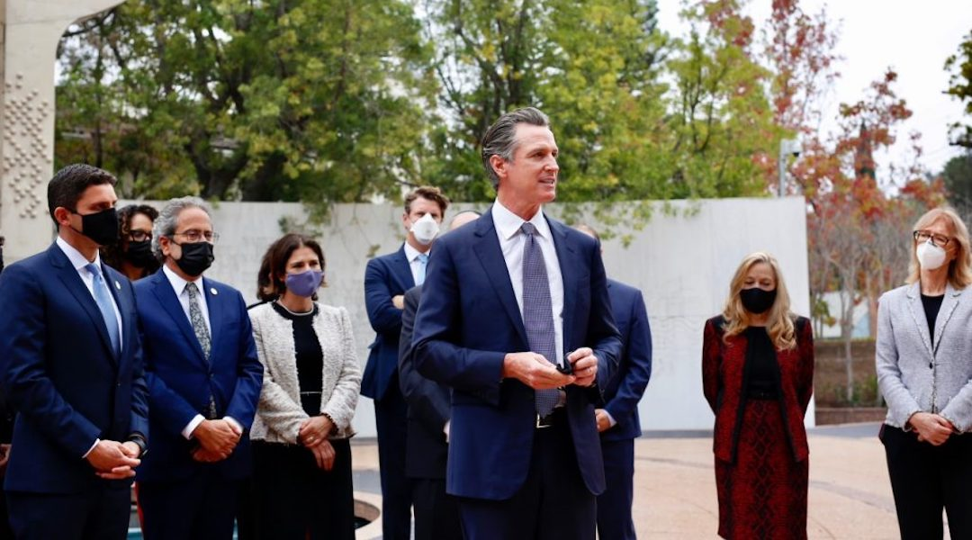 Gov. Gavin Newsom announced the formation of a Council on Holocaust and Genocide Education at the Museum of Tolerance in Los Angeles. (Photo/JTA-Courtesy Newsom's office)