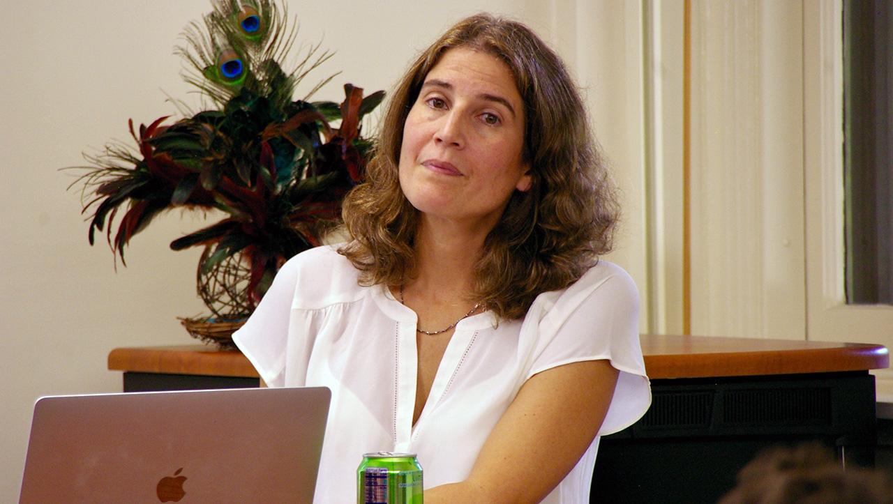 Lila Corwin Berman speaking at Stanford on Oct. 5, 2021. (Photo/Andrew Esensten)