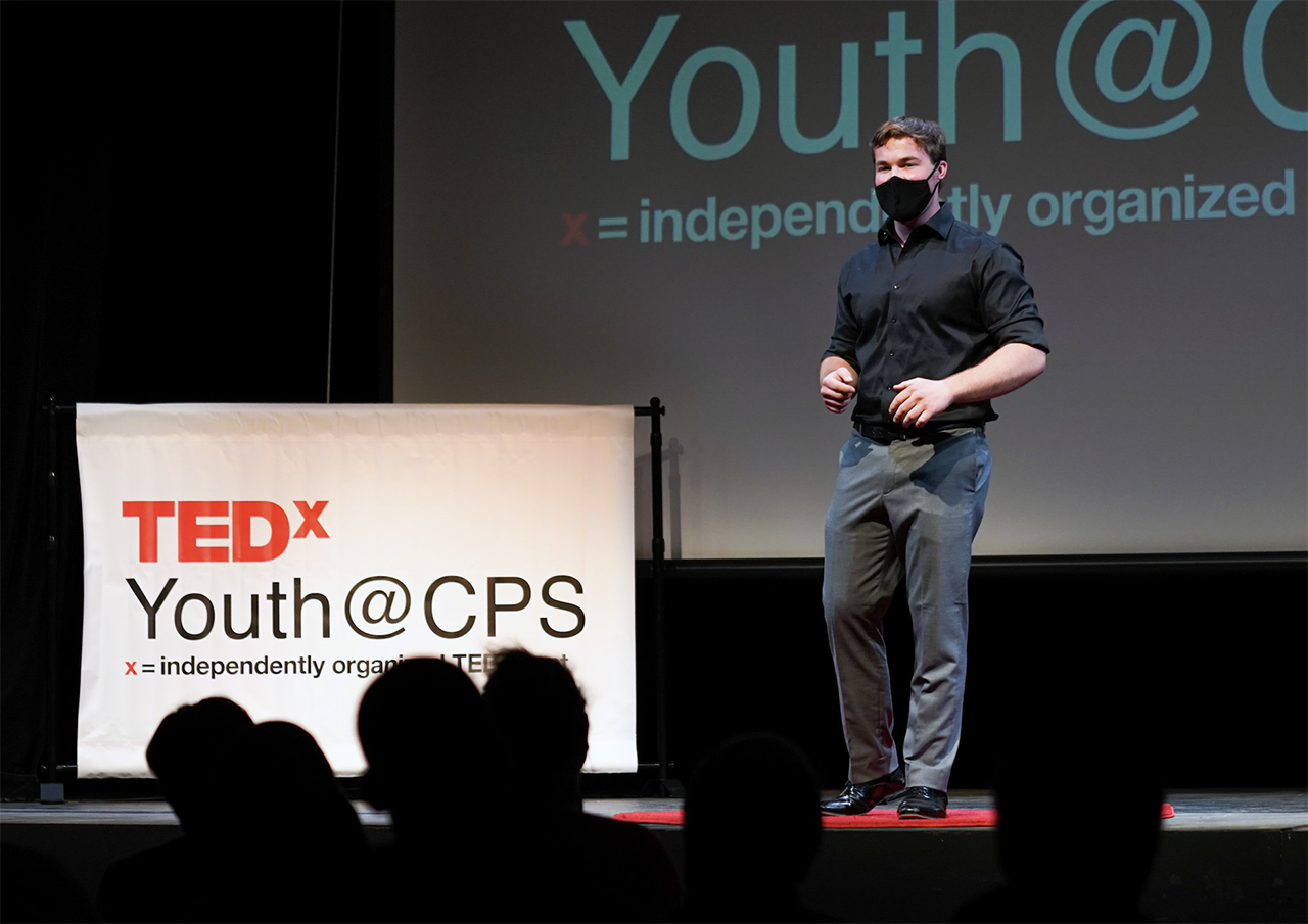 Jasper Vyda, a junior at College Prep high school in Oakland, giving his TEDx Talk on Sept. 17, 2021.