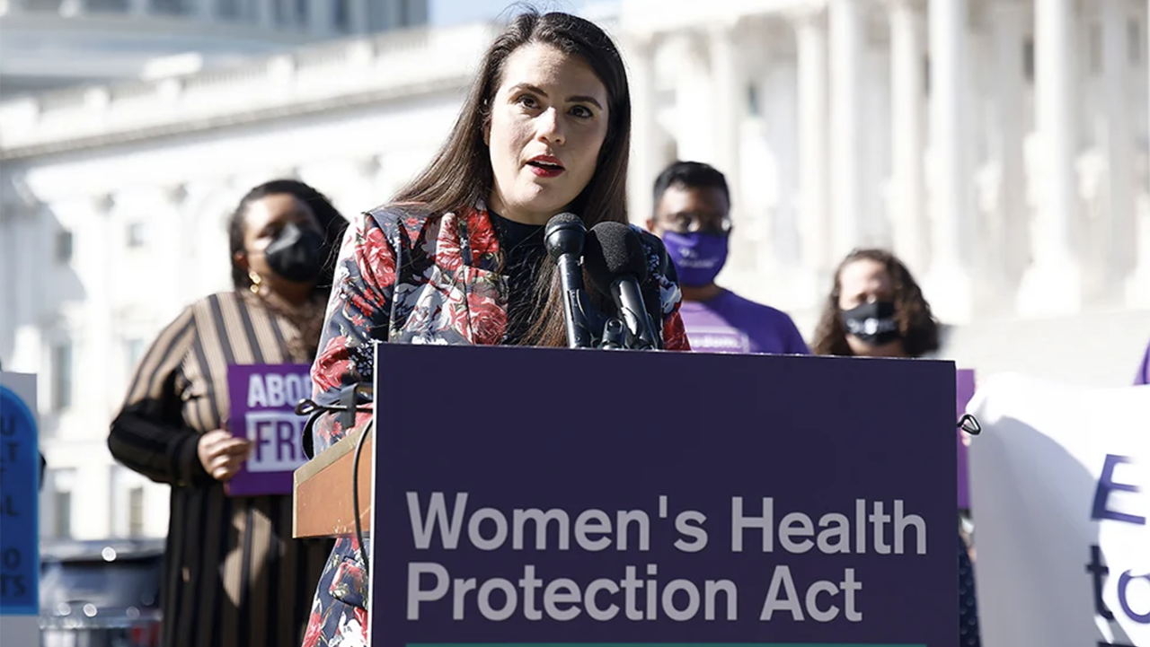 Sheila Katz, CEO, National Council of Jewish Women, urged the U.S. Senate to protect abortion rights at an event outside of the U.S. Capitol Building on Sept. 29, 2021, in Washington, D.C. (Photo/RNS-Paul Morigi-Getty Images for MoveOn)