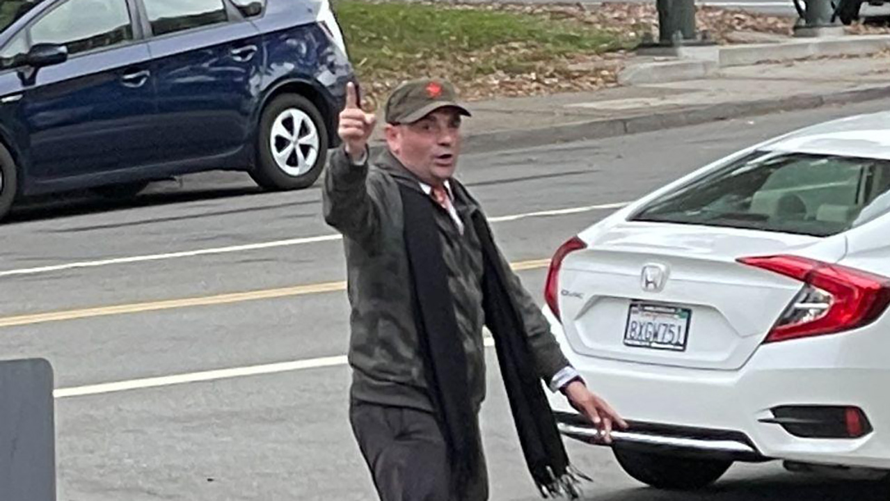 Anatoly Smolkin caught on security camera across the street from Congregation Beth Sholom in San Francisco.