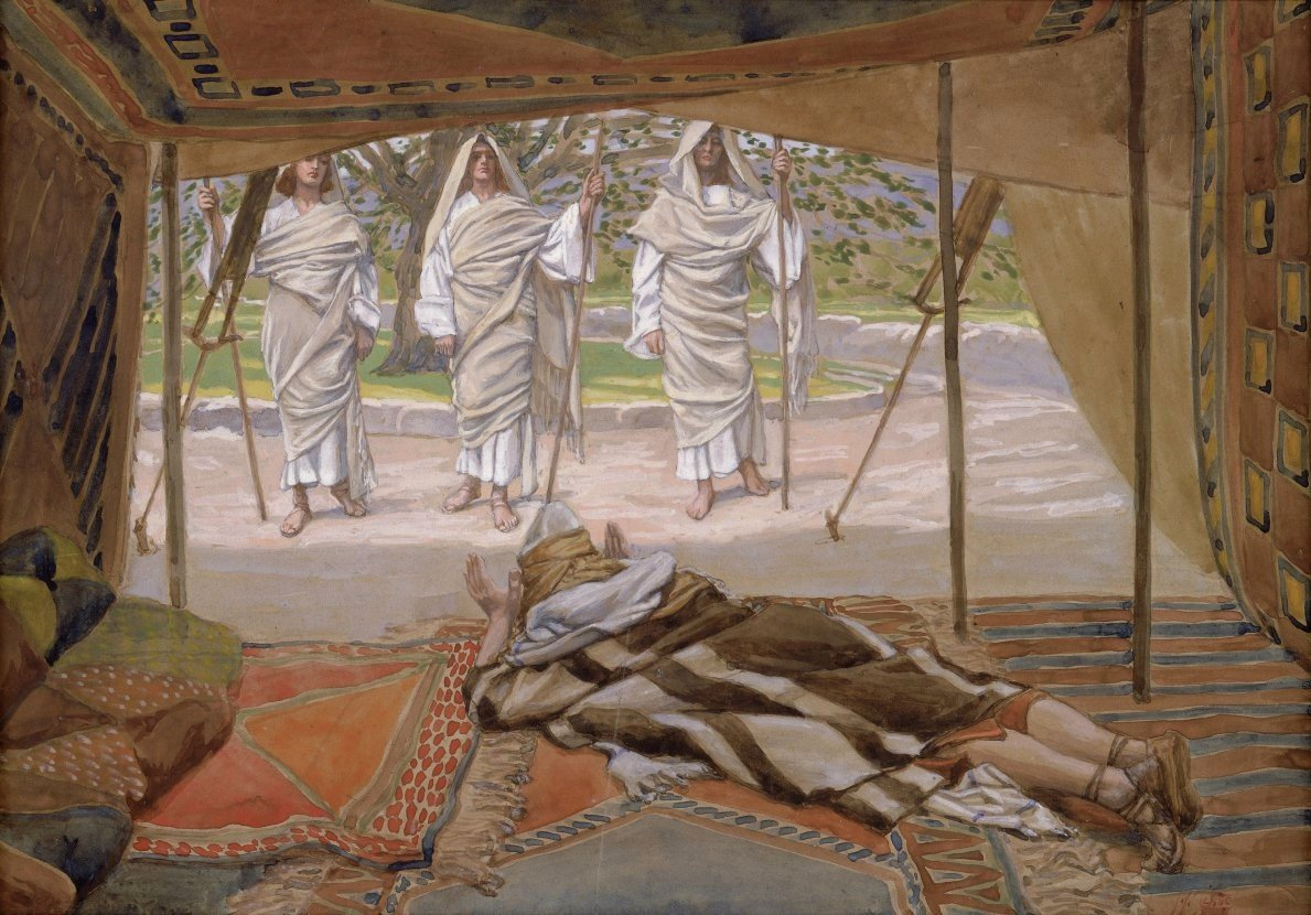 """""""Abraham and the Three Angels"""" by James Tissot, ca. 1900"""