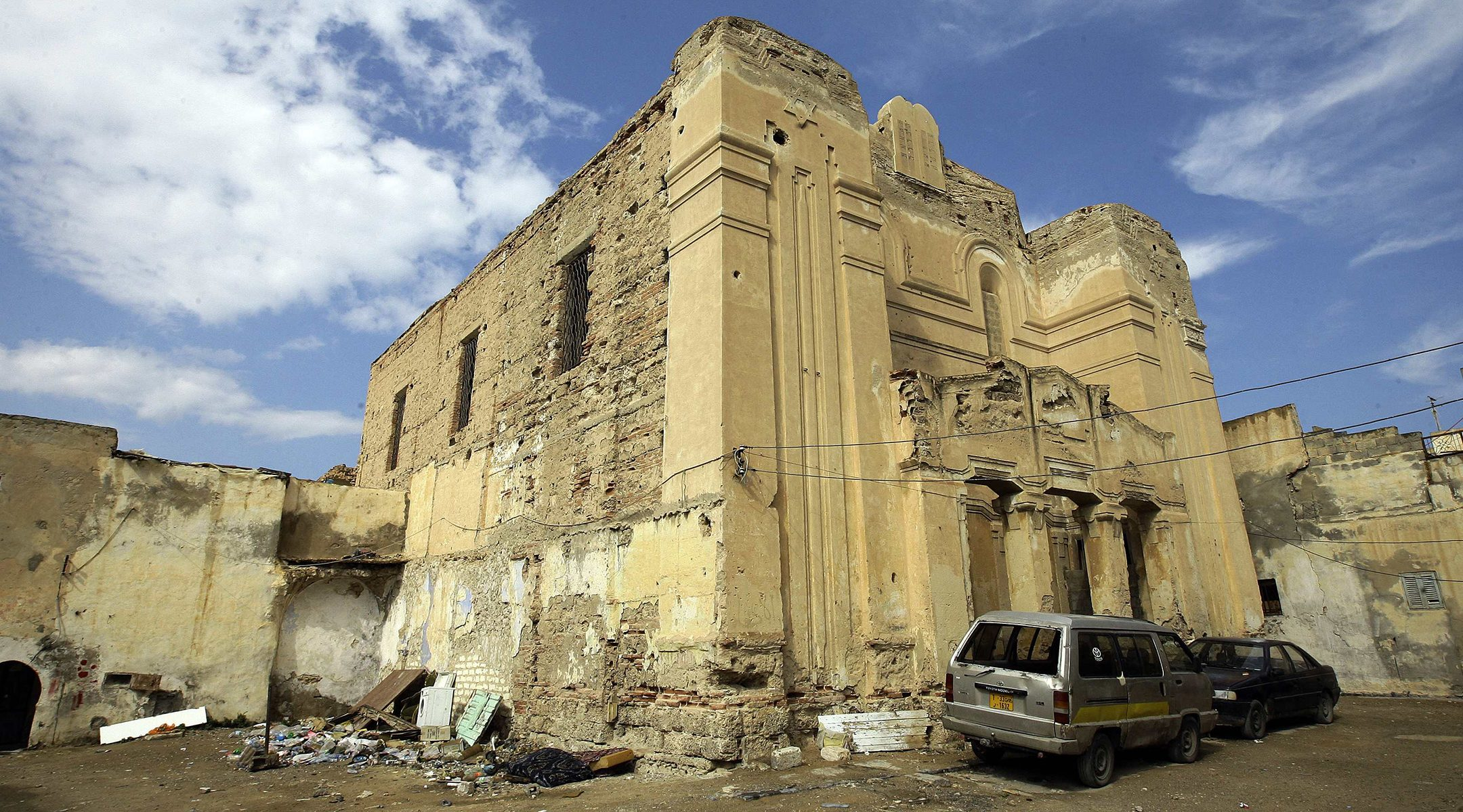 A picture shows the abandoned Dar Bishi synagogue in the Libyan capital Tripoli, Sept. 28, 2011. (Photo/JTA-Joseph Eid-AFP via Getty Images)